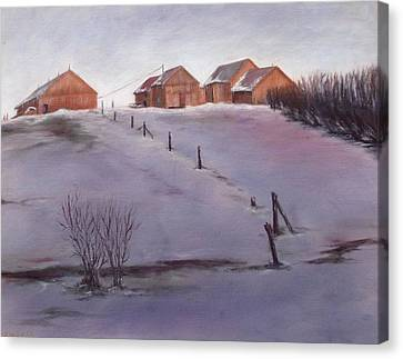 Canvas Print featuring the painting Winter Dusk by Diane Daigle