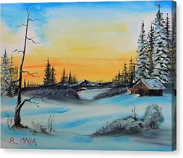 Winter Dusk Canvas Print by Remegio Onia