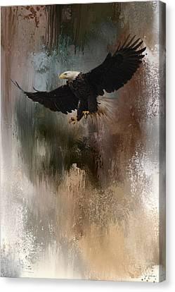 Eagle In Flight Canvas Print - Winter Eagle 1 by Jai Johnson