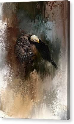 Eagle In Flight Canvas Print - Winter Eagle 2 by Jai Johnson