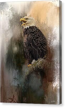 Eagle In Flight Canvas Print - Winter Eagle 3 by Jai Johnson