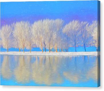 Winter Esplanade Painting Boston, Massachusetts Canvas Print