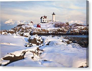 Winter Evening At Nubble Lighthouse Canvas Print by Eric Gendron