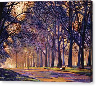 Park Benches Canvas Print -  Winter Evening In Central Park by David Lloyd Glover
