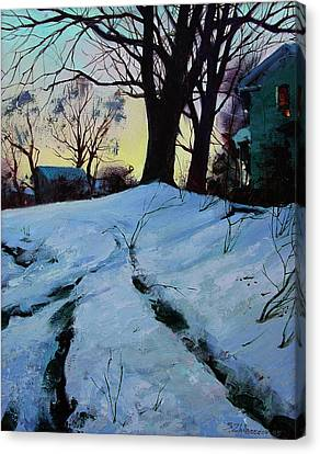 Canvas Print featuring the painting Winter Evening Lights by Sergey Zhiboedov