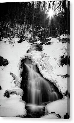 Canvas Print featuring the photograph Winter Falls With Sun by Alan Raasch