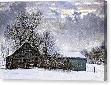 Winter Farm Canvas Print by Steve Harrington