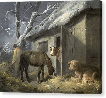 Winter Farmyard Canvas Print by George Morland