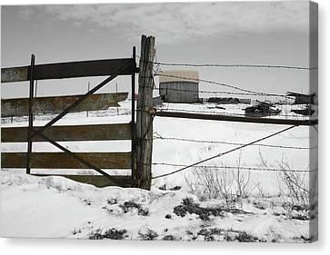 Winter Fence Farm Canvas Print