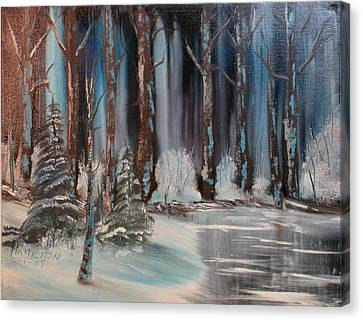 Winter Forest Canvas Print by Larry Hamilton