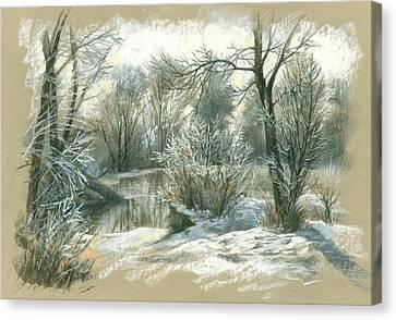 Winter Frozen Pond Canvas Print by Zorina Baldescu