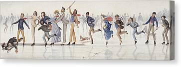 Slide Canvas Print - Winter Fun by Charles Altamont Doyle