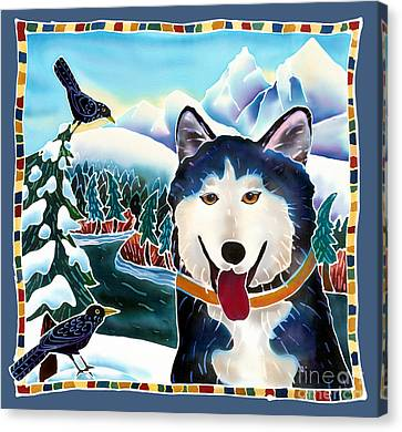 Malamute Canvas Print - Winter Fun by Harriet Peck Taylor