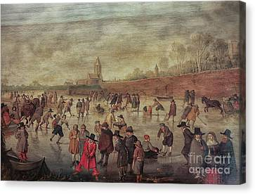 Canvas Print featuring the photograph Winter Fun Painting By Barend Avercamp by Patricia Hofmeester