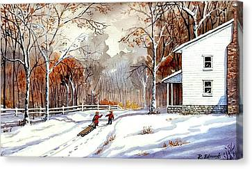Snow Scene Canvas Print - Winter Fun by Raymond Edmonds