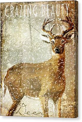 Winter Game Deer Canvas Print by Mindy Sommers