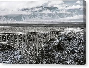 Canvas Print featuring the photograph Winter Gorge Bridge  by Britt Runyon