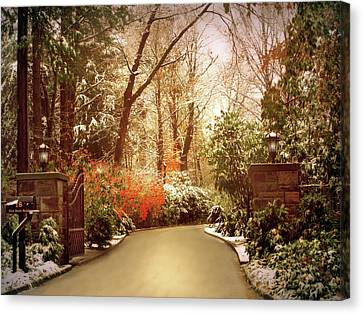 Winter Greets Autumn Canvas Print by Jessica Jenney