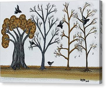 Blackbirds In The Winter Grove Canvas Print