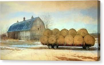 Winter Hay Bales Canvas Print