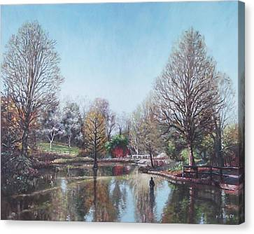 Canvas Print featuring the painting Winter Hilliers Garden Hampshire by Martin Davey