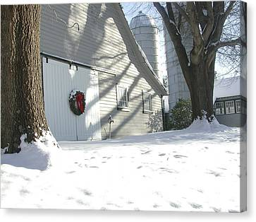 Winter Holiday At The Farm. Canvas Print by Robert Ponzoni