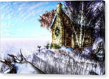Bare Trees Canvas Print - Winter Home by Alina Davis