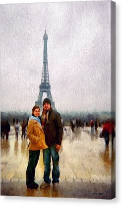 Winter Honeymoon In Paris Canvas Print by Jeff Kolker