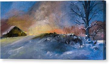 Winter Horse Barn Snowy Landscape Canvas Print by Michele Carter