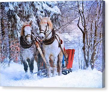 Winter Horses Canvas Print by Georgiana Romanovna