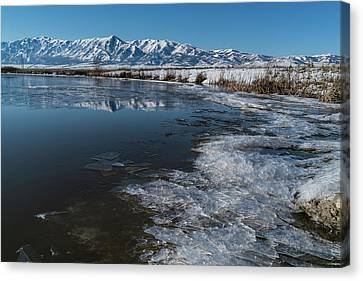 Winter Ice Flows Canvas Print by Justin Johnson