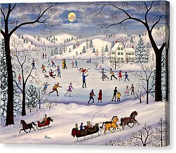 Winter Ice Skating Canvas Print by Linda Mears