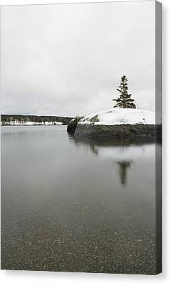 Winter In Blue Hill Canvas Print by Greg DeBeck