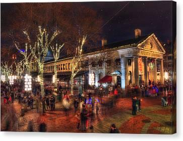 Winter In Boston - Quincy Market Canvas Print