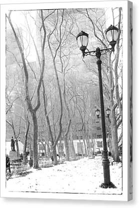 Winter In Byrant Park Canvas Print