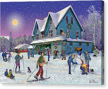Winter In Campton Village Canvas Print by Nancy Griswold