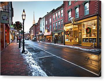 Winter In Downtown Portsmouth Canvas Print by Eric Gendron