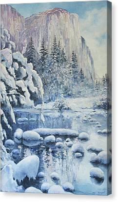 Canvas Print featuring the painting Winter In El Capitan by Tigran Ghulyan