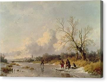 Winter In Holland Canvas Print by Remigius van Haanen