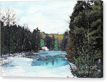 Canvas Print featuring the mixed media Winter In Kalkaska by Desiree Paquette