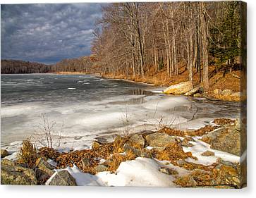 Winter In Kent Canvas Print by Karol Livote