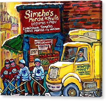Winter In The City Montreal Memories Jewish Landmark Simcha's Fruit Store Canadian Hockey Art  Canvas Print