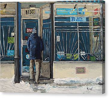 Montreal Streets Montreal Street Scenes Canvas Print - Winter In The City by Reb Frost