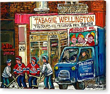 Winter In The City Tabagie Wellington Joblo Verdun Montreal Hockey Art Kellogg's Truck Canadian Art  Canvas Print by Carole Spandau