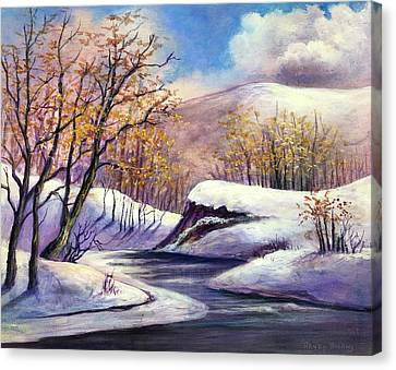 Canvas Print featuring the painting Winter In The Garden Of Eden by Randol Burns