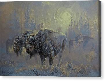 Winter In Yellowstone Canvas Print by Mia DeLode