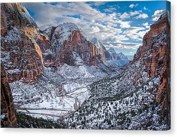 Winter In Zion National Park Canvas Print by James Udall