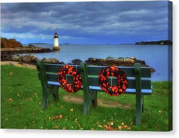 Winter Island Lighthouse Canvas Print by Joann Vitali