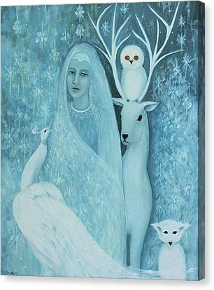 Canvas Print featuring the painting Winter Lady by Tone Aanderaa