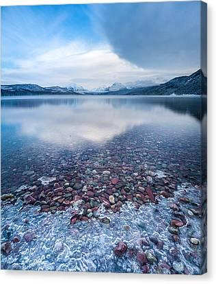 Winter Lake Rocks // Lake Mcdonald, Glacier National Park  Canvas Print by Nicholas Parker